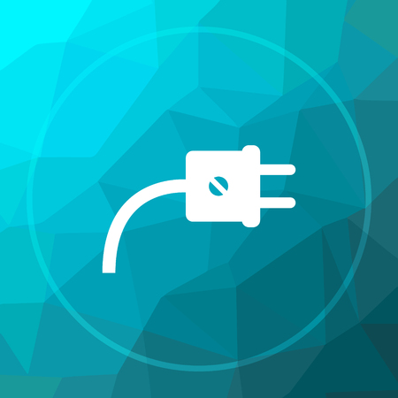 low energy: Plug icon. Plug website button on blue low poly background.