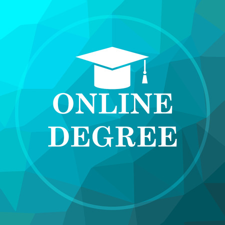 online degree: Online degree icon. Online degree website button on blue low poly background. Stock Photo
