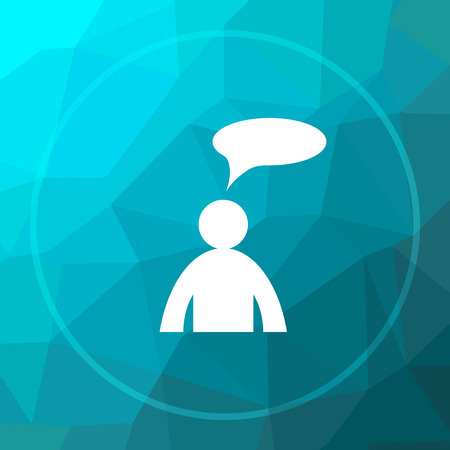 comments: Comments - man with bubble icon. Comments - man with bubble website button on blue low poly background. Stock Photo