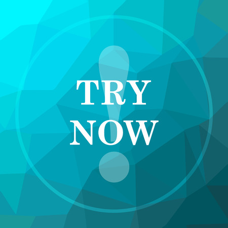 Try now icon. Try now website button on blue low poly background. Stock Photo