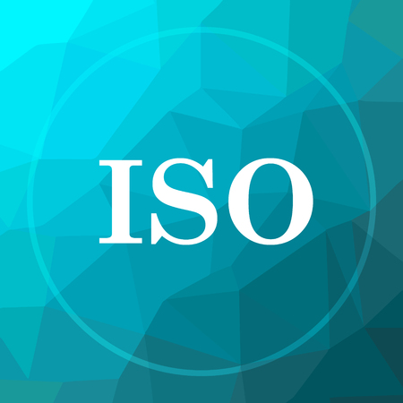 ISO icon. ISO website button on blue low poly background.