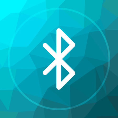 bluetooth: Bluetooth icon. Bluetooth website button on blue low poly background.