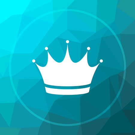 royal person: Crown icon. Crown website button on blue low poly background.