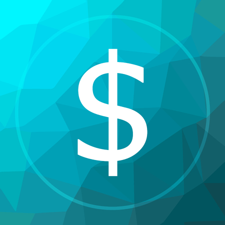 Dollar icon. Dollar website button on blue low poly background.