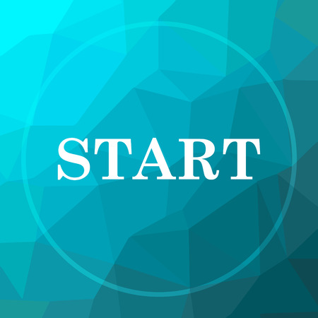 proceed: Start icon. Start website button on blue low poly background. Stock Photo