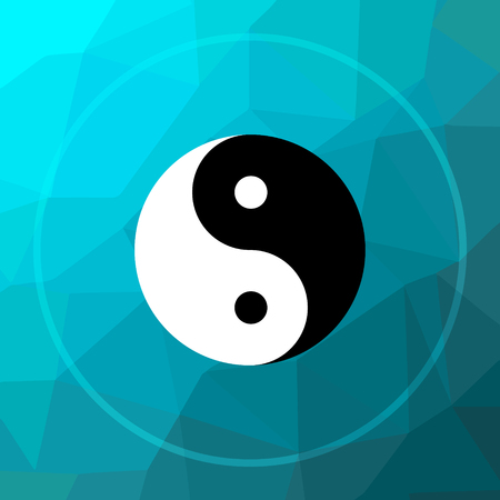 Ying yang icon. Ying yang website button on blue low poly background.