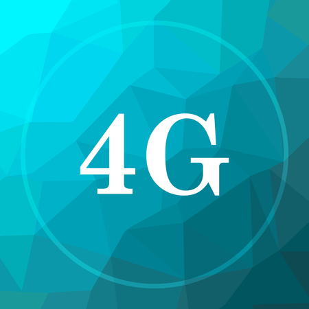 3g: 4G icon. 4G website button on blue low poly background.