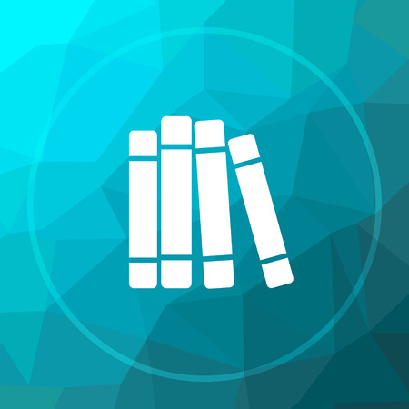 Books library icon. Books library website button on blue low poly background.