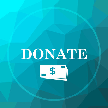 Donate icon. Donate website button on blue low poly background.