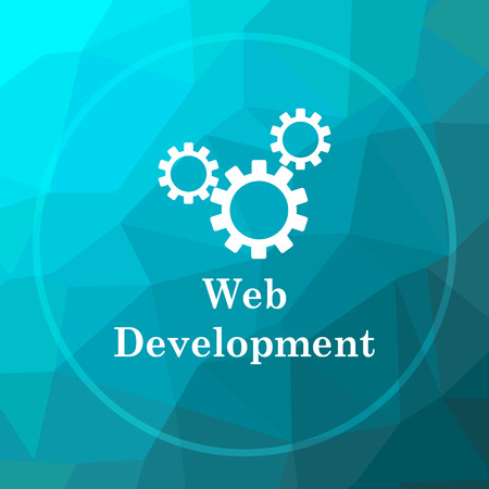 web development: Web development icon. Web development website button on blue low poly background. Stock Photo