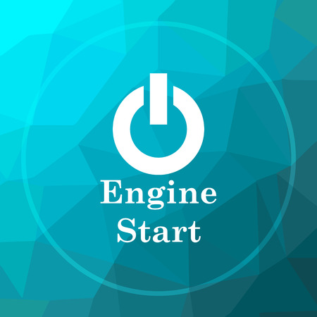 low energy: Engine start icon. Engine start website button on blue low poly background.
