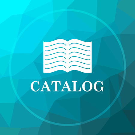 catalog: Catalog icon. Catalog website button on blue low poly background.