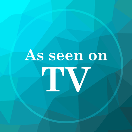 As seen on TV icon. As seen on TV website button on blue low poly background.