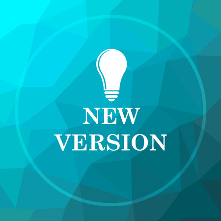 New version icon. New version website button on blue low poly background. Stock Photo