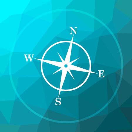 geodesy: Compass icon. Compass website button on blue low poly background.