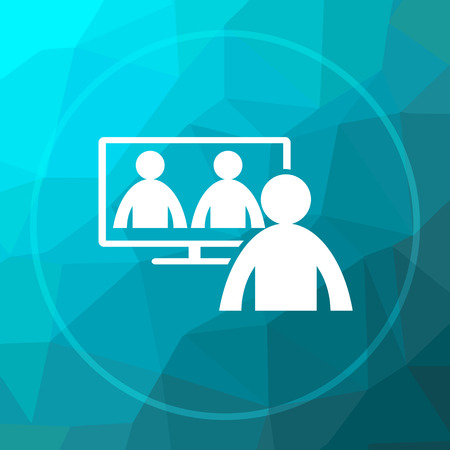 Video conference, online meeting icon. Video conference, online meeting website button on blue low poly background. Stock Photo