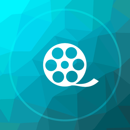 Video icon. Video website button on blue low poly background. Stock Photo