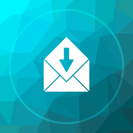 Receive e-mail icon. Receive e-mail website button on blue low poly background. Stock Photo