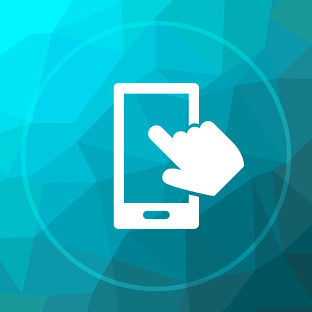 smartphone hand: Smartphone with hand icon. Smartphone with hand website button on blue low poly background. Stock Photo