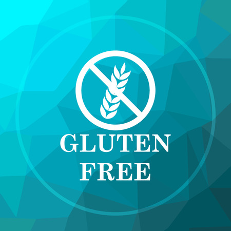 preservatives: Gluten free icon. Gluten free website button on blue low poly background. Stock Photo