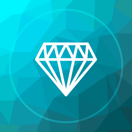 Diamond icon. Diamond website button on blue low poly background.