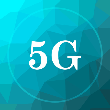 tv tower: 5G icon. 5G website button on blue low poly background. Stock Photo