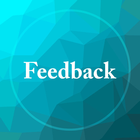 feedback: Feedback icon. Feedback website button on blue low poly background. Stock Photo