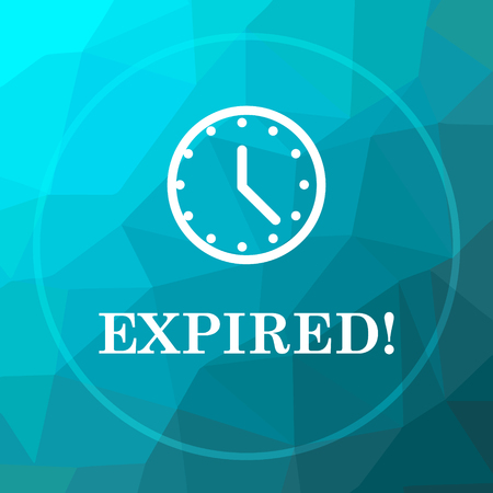 expired: Expired icon. Expired website button on blue low poly background.