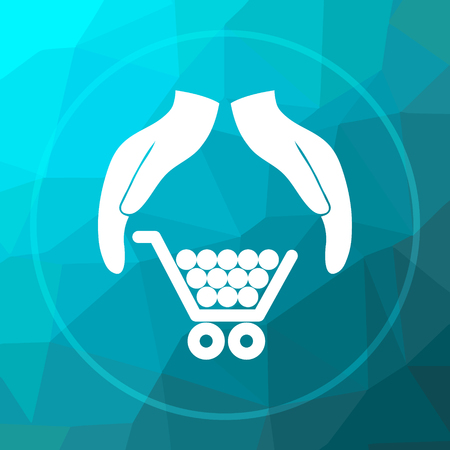 consumer: Consumer protection, protecting hands icon. Consumer protection, protecting hands website button on blue low poly background.