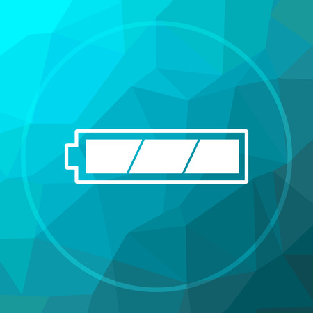 Fully charged battery icon. Fully charged battery website button on blue low poly background.