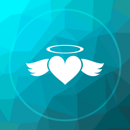 Heart angel icon. Heart angel website button on blue low poly background.