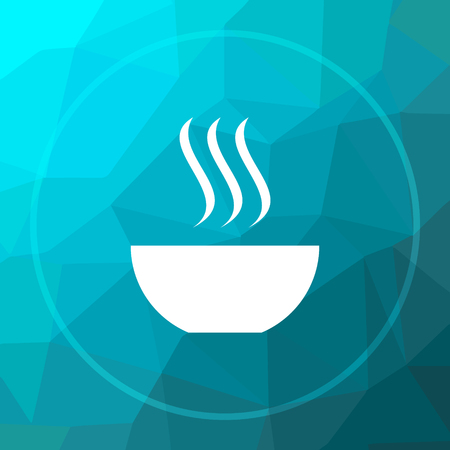 Soup icon. Soup website button on blue low poly background.