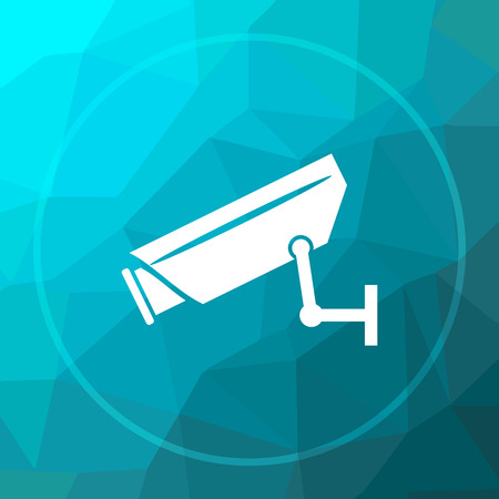 Surveillance camera icon. Surveillance camera website button on blue low poly background. Stock Photo
