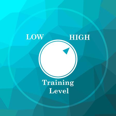 efficacy: Training level icon. Training level website button on blue low poly background. Stock Photo