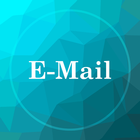 E-mail icon. E-mail website button on blue low poly background.