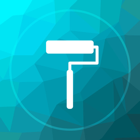 Roller icon. Roller website button on blue low poly background.