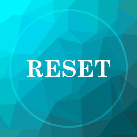 redesign: Reset icon. Reset website button on blue low poly background.