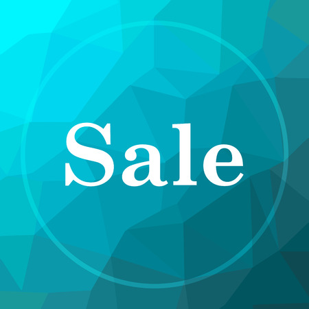 Sale icon. Sale website button on blue low poly background.