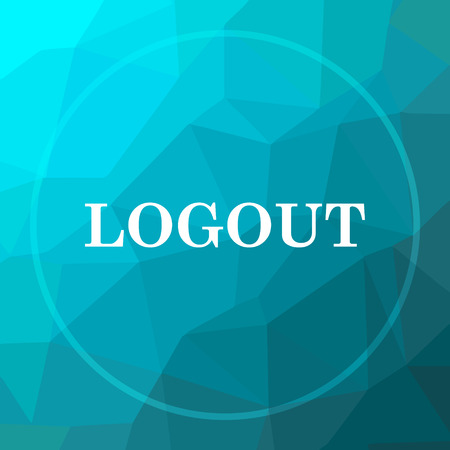 Logout icon. Logout website button on blue low poly background.