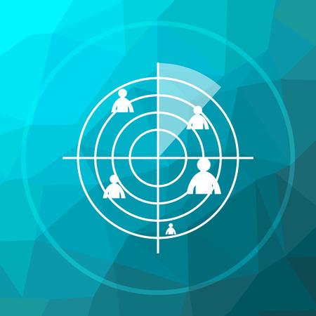 radar: Radar icon. Radar website button on blue low poly background.