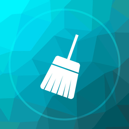 Sweep icon. Sweep website button on blue low poly background.