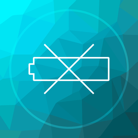 Empty battery icon. Empty battery website button on blue low poly background.