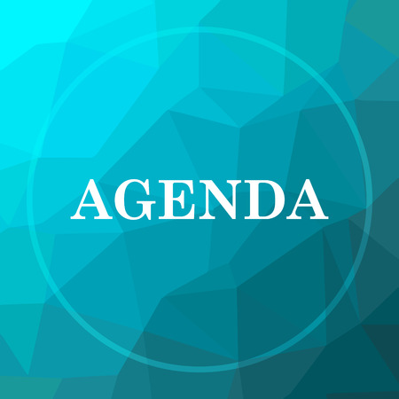 agenda: Agenda icon. Agenda website button on blue low poly background.