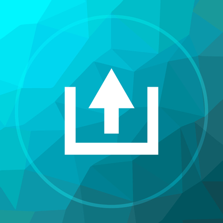 Upload icon. Upload website button on blue low poly background.