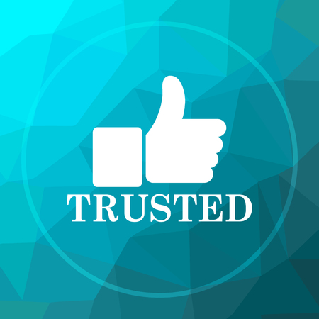 trusted: Trusted icon. Trusted website button on blue low poly background.