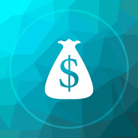 Dollar sack icon. Dollar sack website button on blue low poly background. Stock Photo