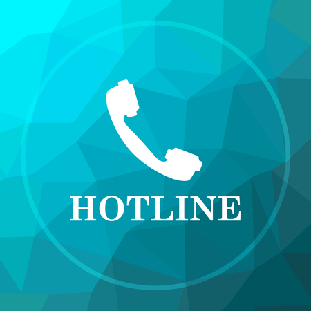 hotline: Hotline icon. Hotline website button on blue low poly background.