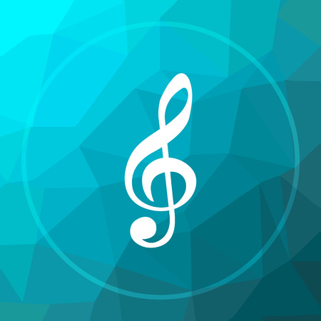 Musical note icon. Musical note website button on blue low poly background. Stock Photo
