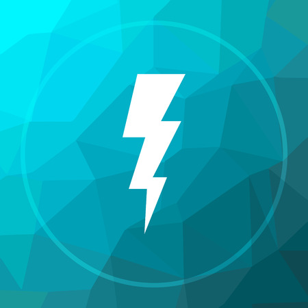 Lightning icon. Lightning website button on blue low poly background.