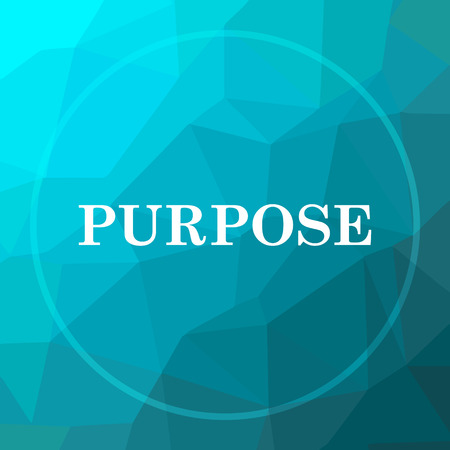 Purpose icon. Purpose website button on blue low poly background.